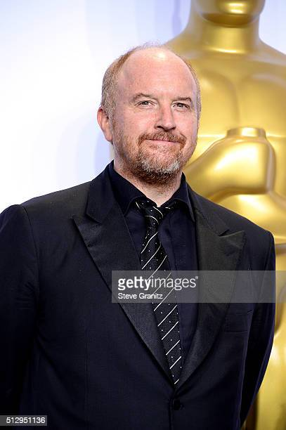 Actor Louis CK poses in the press room during the 88th Annual Academy Awards at Loews Hollywood Hotel on February 28 2016 in Hollywood California