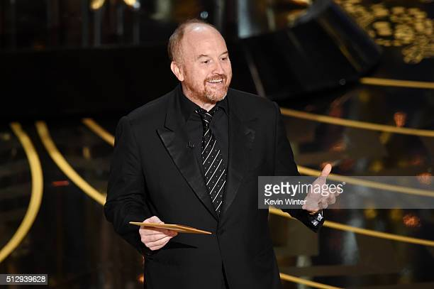 Actor Louis CK speaks onstage during the 88th Annual Academy Awards at the Dolby Theatre on February 28 2016 in Hollywood California