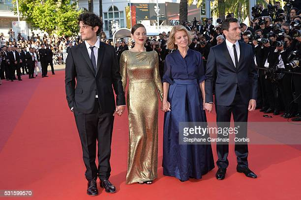 Actor Louis Garrel actress Marion Cotillard director Nicole Garcia and actor Alex Brendemuhl attend the 'From The Land Of The Moon ' premiere during...
