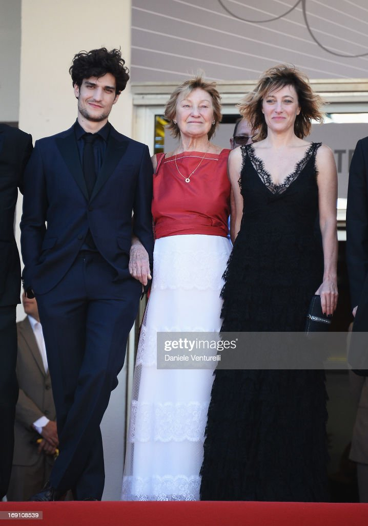 Actor <a gi-track='captionPersonalityLinkClicked' href=/galleries/search?phrase=Louis+Garrel&family=editorial&specificpeople=868484 ng-click='$event.stopPropagation()'>Louis Garrel</a>, actress Marisa Borini and director Valeria Bruni Tedeschi attend the Premiere of 'Un Chateau En Italie' during the 66th Annual Cannes Film Festival at the Palais des Festivals on May 20, 2013 in Cannes, France.