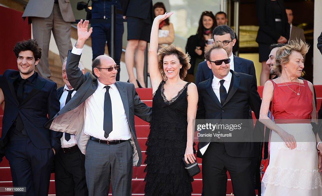 Actor <a gi-track='captionPersonalityLinkClicked' href=/galleries/search?phrase=Louis+Garrel&family=editorial&specificpeople=868484 ng-click='$event.stopPropagation()'>Louis Garrel</a>, guest, director Valeria Bruni Tedeschi, actor <a gi-track='captionPersonalityLinkClicked' href=/galleries/search?phrase=Xavier+Beauvois&family=editorial&specificpeople=4480731 ng-click='$event.stopPropagation()'>Xavier Beauvois</a> and actress Marisa Borin attend the Premiere of 'Un Chateau En Italie' during the 66th Annual Cannes Film Festival at the Palais des Festivals on May 20, 2013 in Cannes, France.