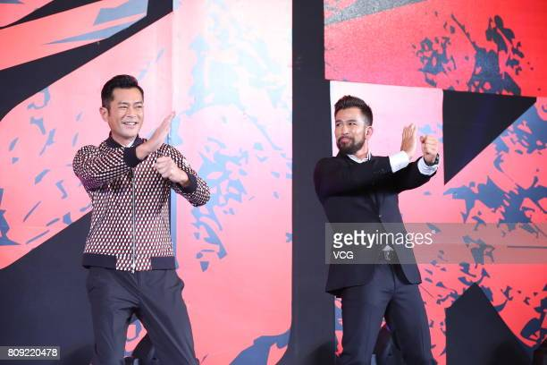 Actor Louis Koo and Canadian actor Chris Collins attend the press conference of film 'Paradox' on July 5 2017 in Beijing China