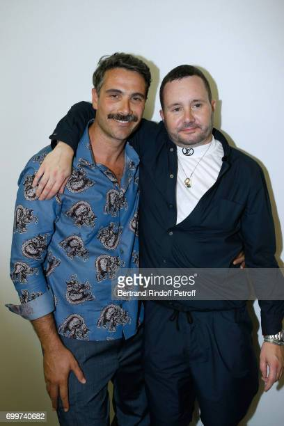 Actor Luca Calvani and Stylist Kim Jones pose after the Louis Vuitton Menswear Spring/Summer 2018 show as part of Paris Fashion Week on June 22 2017...