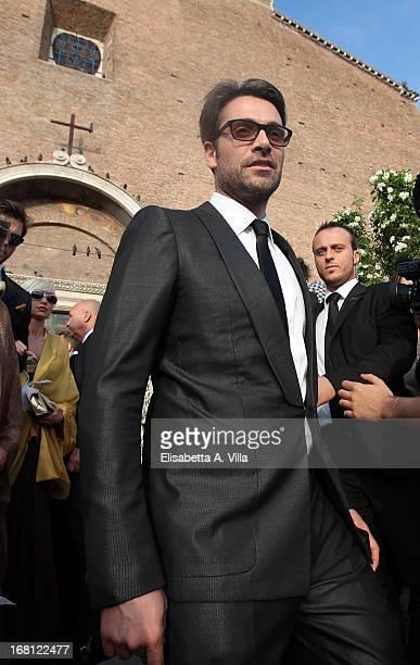 Actor Luca Calvani attends the Valeria Marini and Giovanni Cottone wedding at Ara Coeli on May 5 2013 in Rome Italy