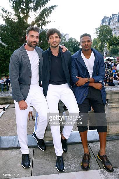 Actor Luca Calvani model Andres Velencoso Segura and american football player Brice Butler attend the Berluti Menswear Spring/Summer 2017 show as...