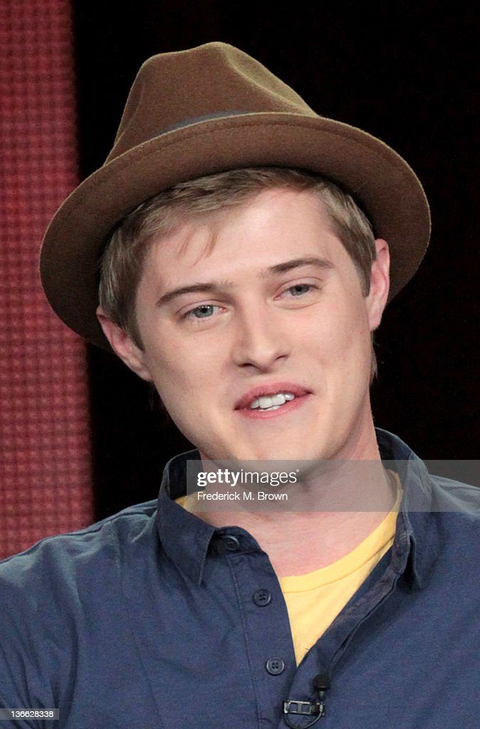 Actor <a gi-track='captionPersonalityLinkClicked' href=/galleries/search?phrase=Lucas+Grabeel&family=editorial&specificpeople=651906 ng-click='$event.stopPropagation()'>Lucas Grabeel</a> speaks onstage during the 'Switched At Birth' panel during the Disney/ABC Television Group portion of the 2012 Winter TCA Tour at The Langham Huntington Hotel and Spa on January 9, 2012 in Pasadena, California.