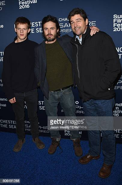 Actor Lucas Hedges Casey Affleck and Kyle Chandler attend the Official Premiere Party for 'Manchester By The Sea' hosted by Chase Sapphire Preferred...
