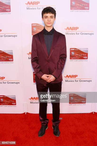 Actor Lucas Jade Zumann attends the 16th Annual AARP The Magazine's Movies For Grownups Awards at the Beverly Wilshire Four Seasons Hotel on February...