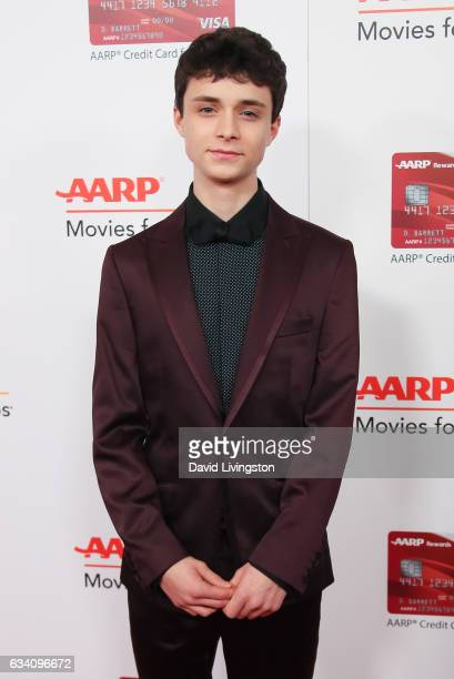 Actor Lucas Jade Zumann attends the AARP's 16th Annual Movies for Grownups Awards at the Beverly Wilshire Four Seasons Hotel on February 6 2017 in...