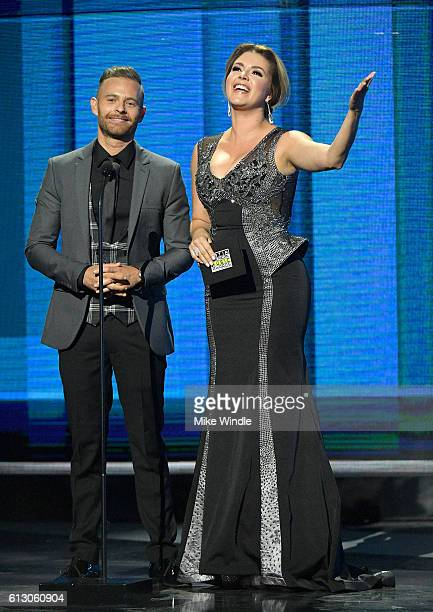 Actor Luis Ernesto Franco and former Miss Universe Alicia Machado speak onstage during the 2016 Latin American Music Awards at Dolby Theatre on...