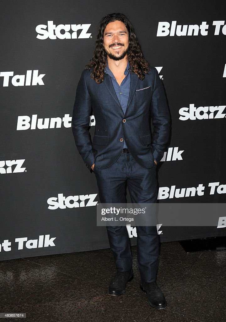 Actor <a gi-track='captionPersonalityLinkClicked' href=/galleries/search?phrase=Luke+Arnold&family=editorial&specificpeople=5991385 ng-click='$event.stopPropagation()'>Luke Arnold</a> arrives for the Premiere Of STARZ 'Blunt Talk' held at DGA Theater on August 10, 2015 in Los Angeles, California.