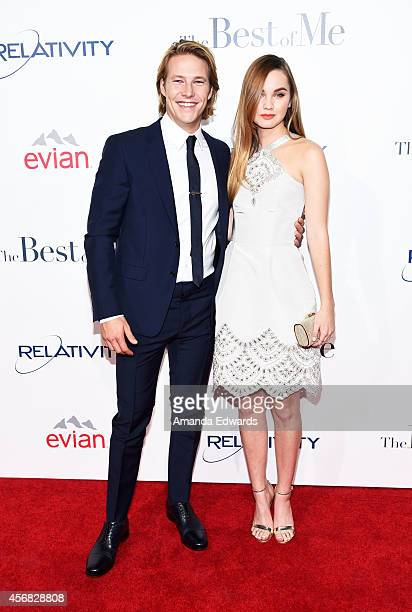 Actor Luke Bracey and actress Liana Liberato arrive at the Los Angeles premiere of 'The Best Of Me' at the Regal Cinemas LA Live on October 7 2014 in...