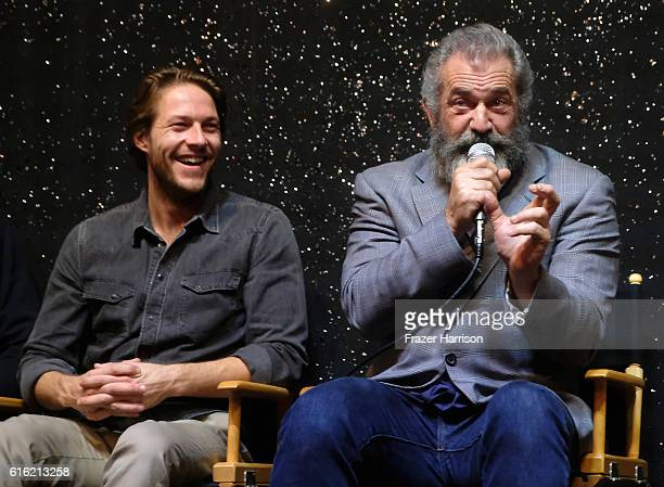 Actor Luke Bracey and director Mel Gibson attend Australians In Film Presents 'Hacksaw Ridge' Screening and QA at Ahrya Fine Arts Movie Theater on...