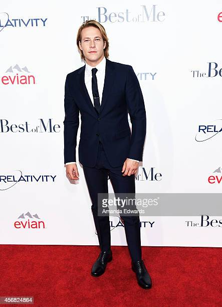 Actor Luke Bracey arrives at the Los Angeles premiere of 'The Best Of Me' at the Regal Cinemas LA Live on October 7 2014 in Los Angeles California