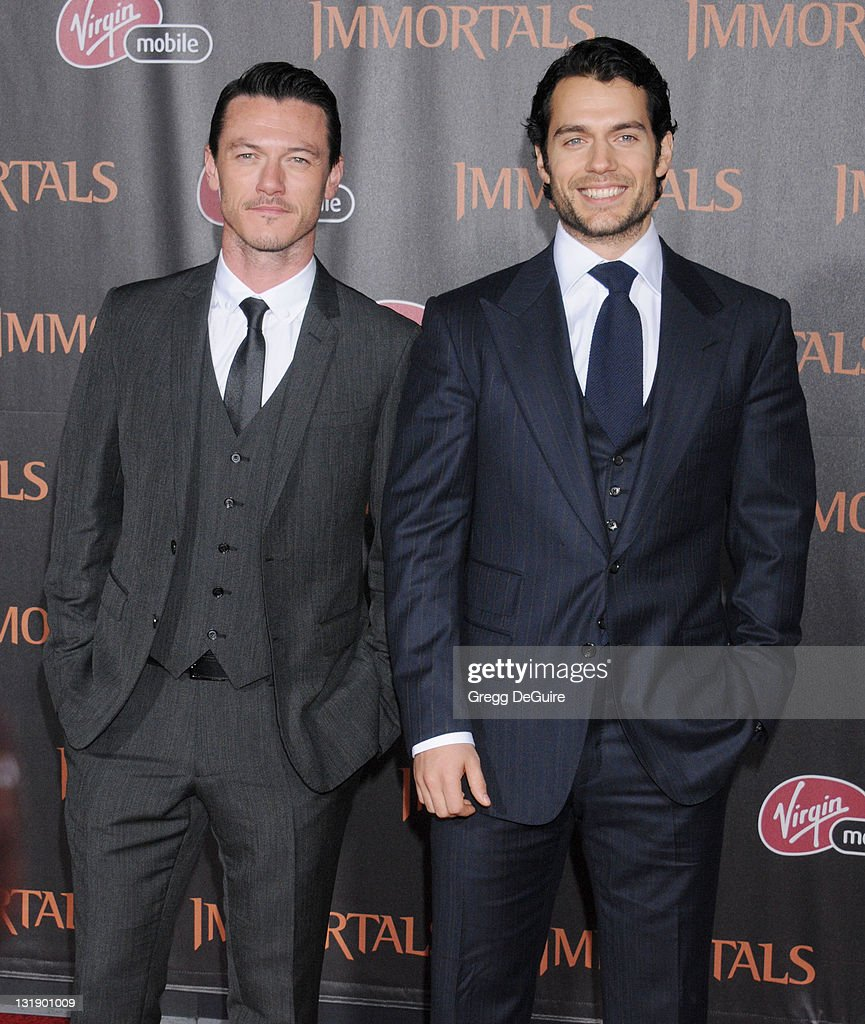 Actor Luke Evans and actor Henry Cavill arrive at the 'Immortals' - Los Angeles Premiere at Nokia Theatre L.A. Live on November 7, 2011 in Los Angeles, California.