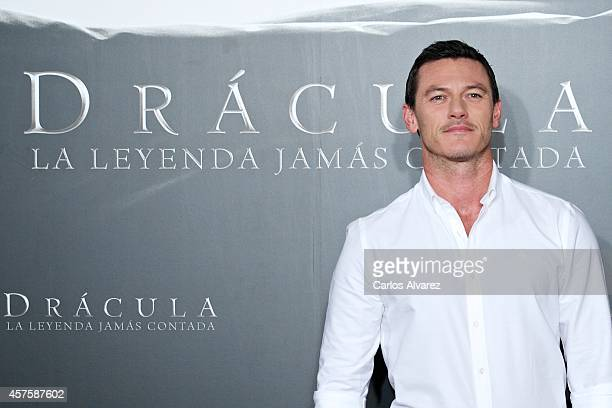 Actor Luke Evans attends the 'Dracula' photocall at the Villamagna Hotel on October 21 2014 in Madrid Spain