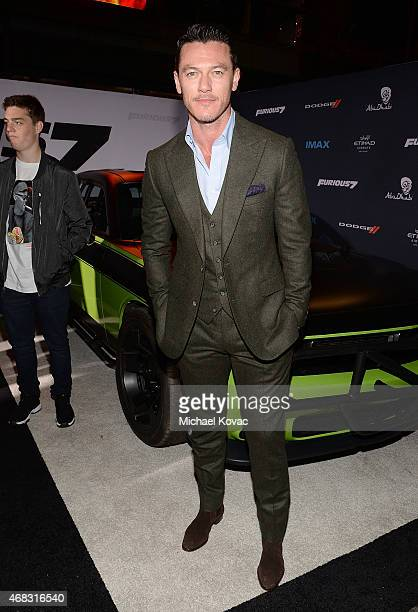 Actor Luke Evans attends the Furious 7 Los Angeles Premiere Sponsored by Dodge at TCL Chinese 6 Theatres on April 1 2015 in Hollywood California