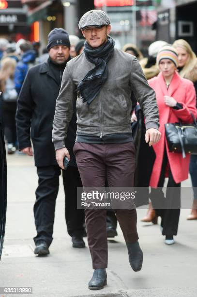 Actor Luke Evans leaves the 'Good Morning America' taping at the ABC Times Square Studios on February 14 2017 in New York City