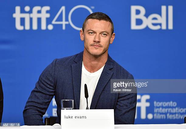 Actor Luke Evans speaks onstage during the 'HighRise' press conference at the 2015 Toronto International Film Festival at TIFF Bell Lightbox on...