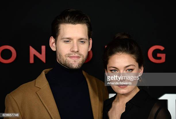 Actor Luke Kleintank and actress Alexa Davalos arrive at the premiere of Amazon's 'Man In The High Castle' Season 2 at the Pacific Design Center on...