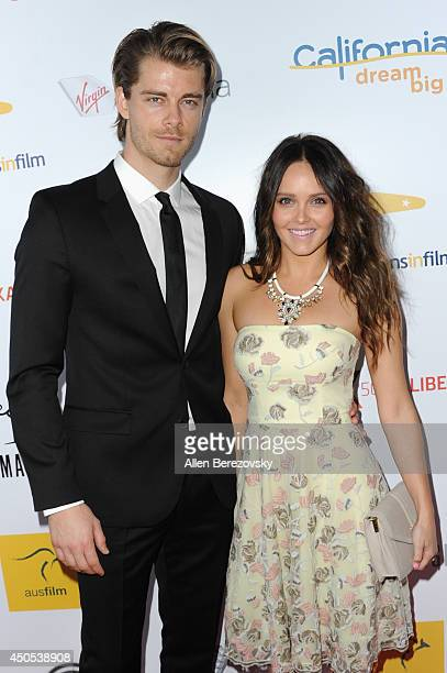 Actor Luke Mitchell and actress Rebecca Breeds arrive at The Ledger Family and Australians In Film's 6th anniversary of The Scholarship and The...