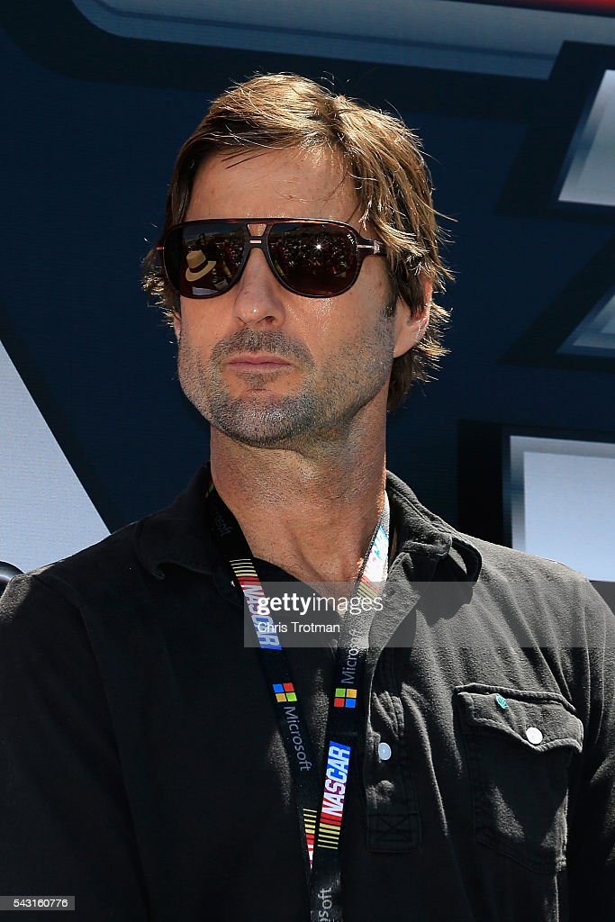 Actor Luke Wilson is seen during driver introductions prior to the NASCAR Sprint Cup Series Toyota/Save Mart 350 at Sonoma Raceway on June 26, 2016 in Sonoma, California.