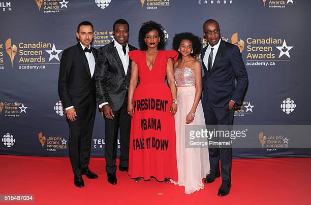 Actor Lyriq Bent actress Shailyn PierreDixon and filmmaker Clement Virgo of The Book of Negroes arrive at the 2016 Canadian Screen Awards at the Sony...