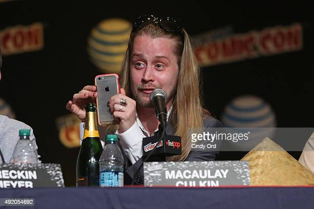 Actor Macaulay Culkin spakes at the Adult Swim Panel Robot Chicken Adult Swim at New York Comic Con 2015 at the Jacob Javitz Center on October 9 2015...