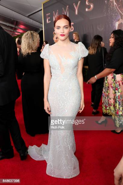 Actor Madeline Brewer walks the red carpet during the 69th Annual Primetime Emmy Awards at Microsoft Theater on September 17 2017 in Los Angeles...