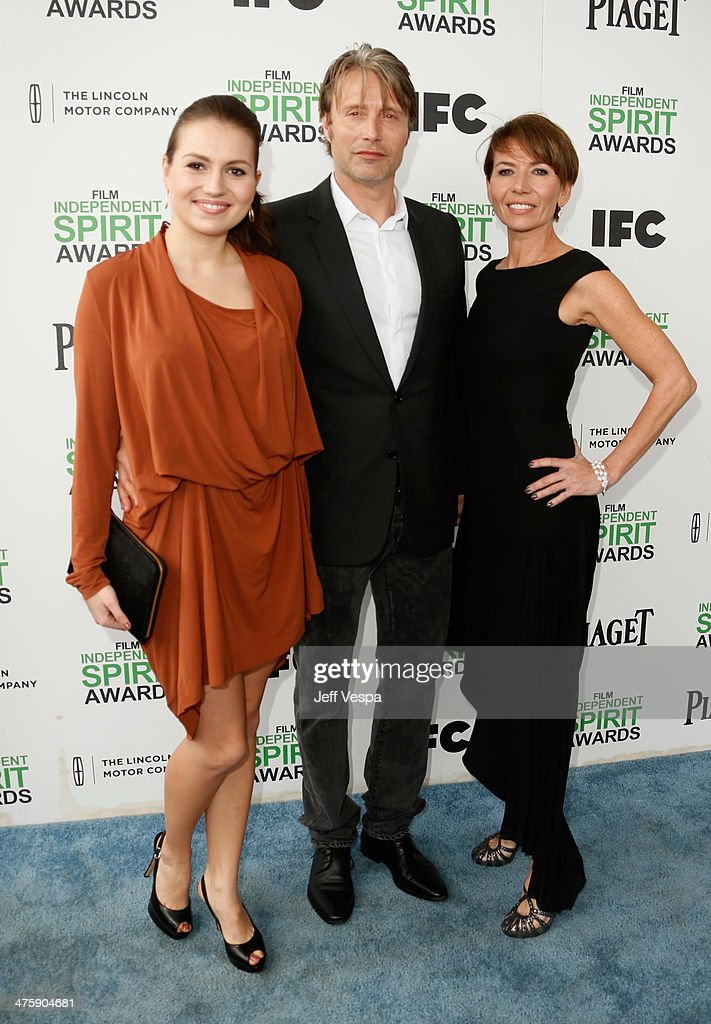 Actor Mads Mikkelsen (C) and guests attend the 2014 Film Independent Spirit Awards at Santa Monica Beach on March 1, 2014 in Santa Monica, California.