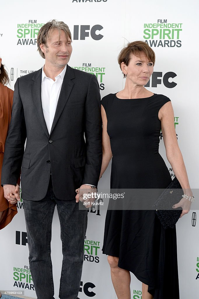 Actor Mads Mikkelsen and Hanne Jacobsen attend the 2014 Film Independent Spirit Awards on March 1, 2014 in Santa Monica, California.