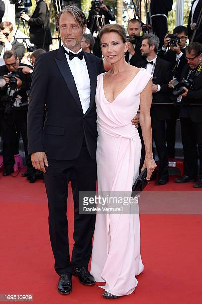 Actor Mads Mikkelsen and Hanne Jacobsen attend the Premiere of 'Zulu' and the Closing Ceremony of The 66th Annual Cannes Film Festival at Palais des...
