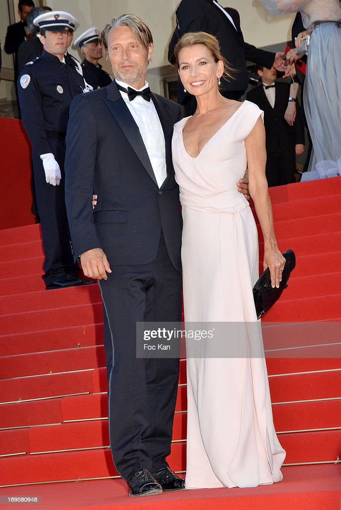 Actor <a gi-track='captionPersonalityLinkClicked' href=/galleries/search?phrase=Mads+Mikkelsen&family=editorial&specificpeople=3003791 ng-click='$event.stopPropagation()'>Mads Mikkelsen</a> and Hanne Jacobsen attend the Premiere of 'Zulu' and the Closing Ceremony of The 66th Annual Cannes Film Festival at Palais des Festivals on May 26, 2013 in Cannes, France.