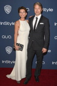 Actor Mads Mikkelsen and wife Hanne Jacobsen attend the 2014 InStyle And Warner Bros 71st Annual Golden Globe Awards PostParty held at The Beverly...