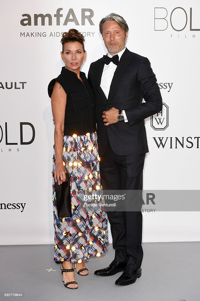 Actor Mads Mikkelsen and wife Hanne Jacobsen attend the amfAR's 23rd Cinema Against AIDS Gala at Hotel du CapEdenRoc on May 19 2016 in Cap d'Antibes...