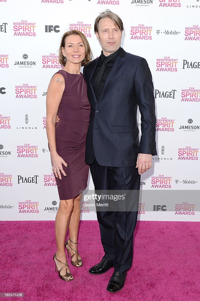 Actor Mads Mikkelsen and wife Hanne Jacobsen attends the 2013 Film Independent Spirit Awards at Santa Monica Beach on February 23, 2013 in Santa Monica, California.
