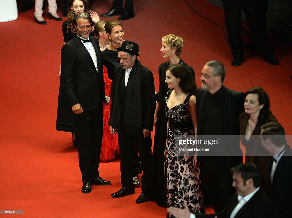 Actor Mads Mikkelsen and wife Hanne Jacobsen, Denis Lavant, Delphine Chuillot, Amira Casar and director Arnaud des Pallieres attend the 'Michael Kohlhaas' premiere during The 66th Annual Cannes Film Festival at the Palais des Festival on May 24, 2013 in Cannes, France.