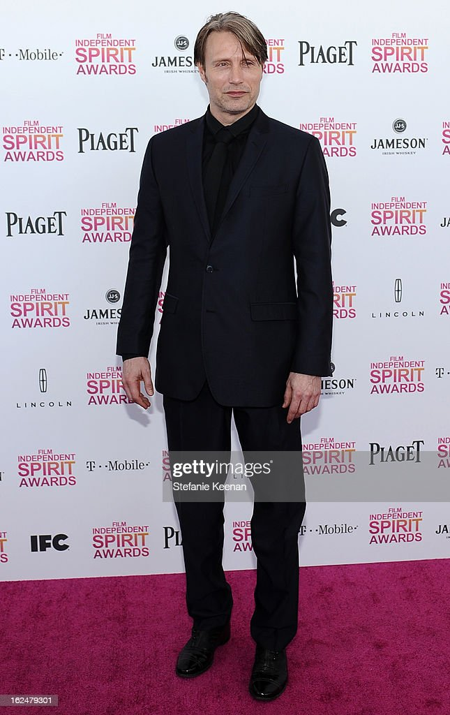 Actor Mads Mikkelsen arrives at The 2013 Film Independent Spirit Awards on February 23, 2013 in Santa Monica, California.