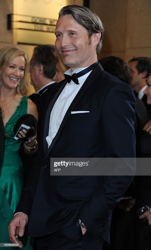 Actor Mads Mikkelsen arrives on the red carpet for the 85th Annual Academy Awards on February 24, 2013 in Hollywood, California.