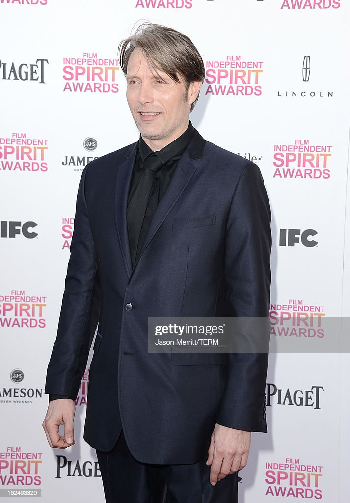 Actor Mads Mikkelsen attends the 2013 Film Independent Spirit Awards at Santa Monica Beach on February 23, 2013 in Santa Monica, California.