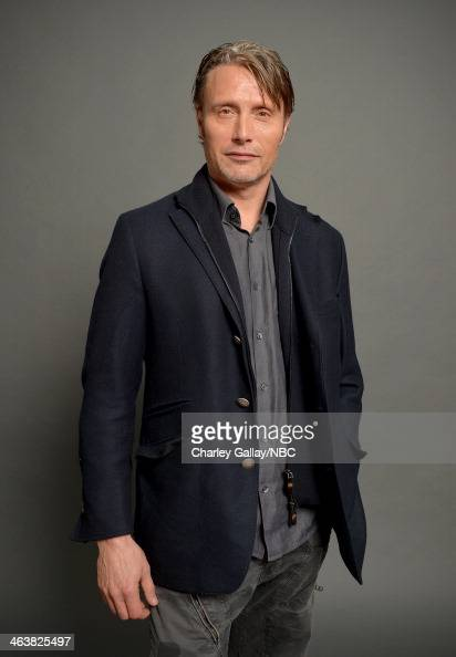 Actor Mads Mikkelsen attends the 2014 NBCUniversal TCA Winter Press Tour Portraits at Langham Hotel on January 19 2014 in Pasadena California