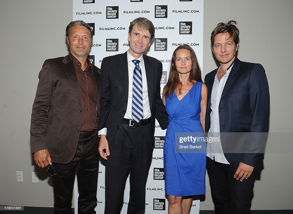 Actor <a gi-track='captionPersonalityLinkClicked' href=/galleries/search?phrase=Mads+Mikkelsen&family=editorial&specificpeople=3003791 ng-click='$event.stopPropagation()'>Mads Mikkelsen</a>, Consul General in New York, Ambassador Jarl Frijs-Madsen, Kristina Djurhuus and Writer, Director <a gi-track='captionPersonalityLinkClicked' href=/galleries/search?phrase=Thomas+Vinterberg&family=editorial&specificpeople=2247734 ng-click='$event.stopPropagation()'>Thomas Vinterberg</a> attend 'The Hunt' New York Premiere at Elinor Bunin Munroe Film Center on July 10, 2013 in New York City.