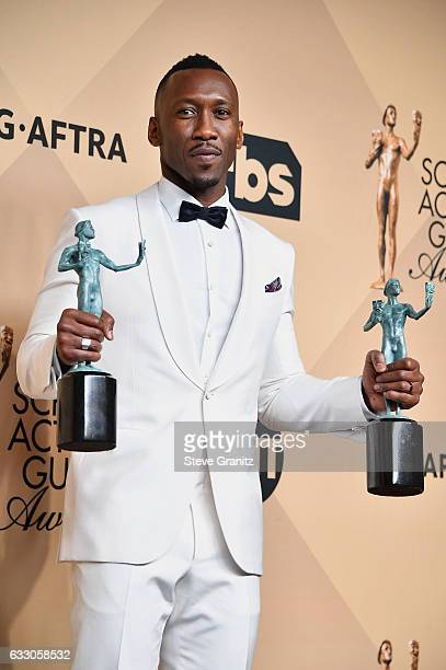 Actor Mahershala Ali winner of the awards for Outstanding Male Actor in a Supporting Role for 'Moonlight' and Outstanding Cast in a Motion Picture...