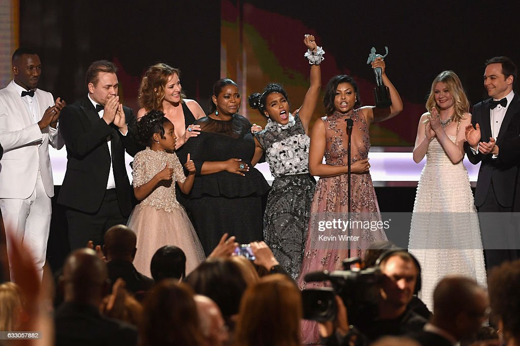 Actor Mahershala Ali, writer/director Theodore Melfi, actors Saniyya Sidney, Kimberly Quinn, Octavia Spencer, Janelle Monae, Taraji P. Henson, Kirsten Dunst and Jim Parsons accept Outstanding Performance by a Cast in a Motion Picture for 'Hidden Figures' onstage during The 23rd Annual Screen Actors Guild Awards at The Shrine Auditorium on January 29, 2017 in Los Angeles, California. 26592_014