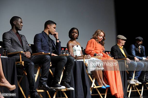 Actor Malachi Kirby Actor RegeJean Page Actress Erica Tazel Actress Ruth Carter Executive producer Mark Wolper and Actor Will Packer speaks on stage...