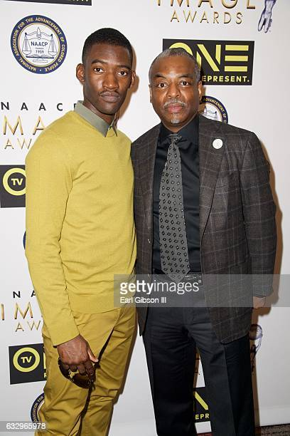 Actor Malachi Kirby and Actor LeVar Burton attend the 48th NAACP Image Awards Nominees Luncheon at Loews Hollywood Hotel on January 28 2017 in...