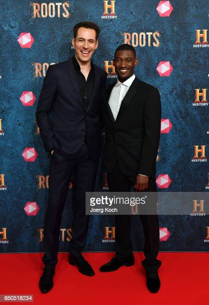 Actor Malachi Kirby and host and actor Alexander Mazza attend the HISTORY and Telekom preview screening of the new drama series 'Roots' on March 9...