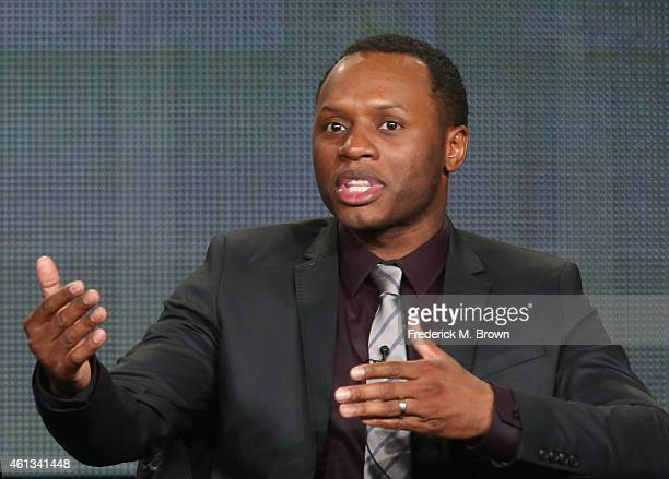Actor Malcolm Goodwin speaks onstage during the 'iZombie' panel as part of The CW 2015 Winter Television Critics Association press tour at the...