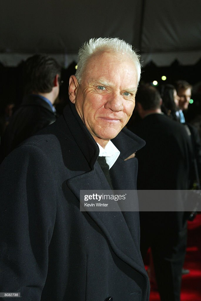 Actor Malcolm McDowell arrives at the premiere of Touchstone's 'Hildago' at the El Capitan Theatre on March 1, 2004 in Los Angeles, California.