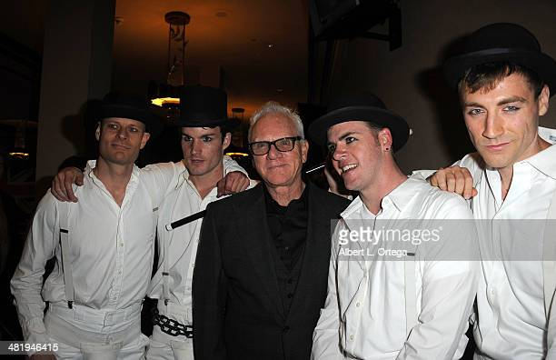 Actor Malcolm McDowell poses with 'droogs' at The Malcom McDowell Series Of QA Screenings Presents 'A Clockwork Orange' held at The Alex Theatre on...
